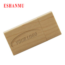 Custom Logo Pendrive Card Usb Flash Drive Wood Pen Drive Gift Usb Stick Real Capacity Disk On Key (over 20 pcs free logo)(China (Mainland))