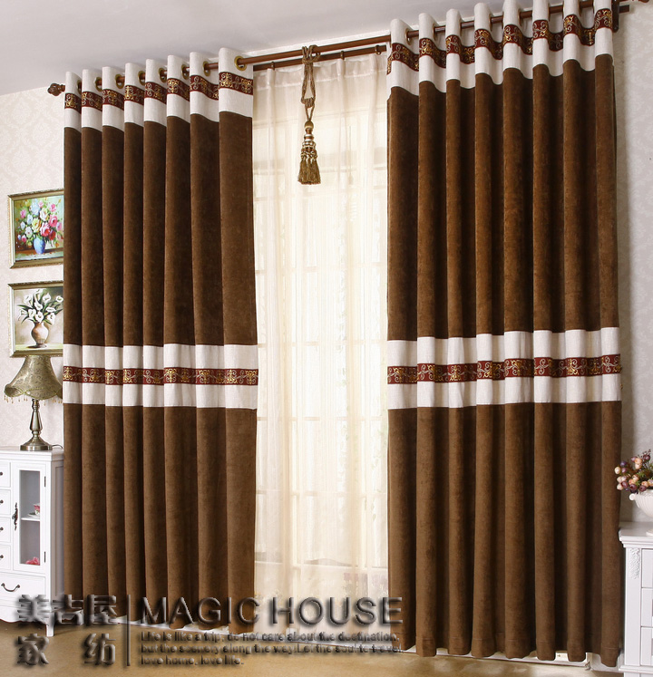 Free shipping home design chenille stitching living room for Bedroom curtains designs