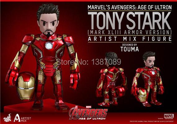 New Arrival Marvel Avengers 2 Age of Ultron Prime Tony Stark LOOSE Bobble-head Doll PVC Iron Man Action Figure Toy
