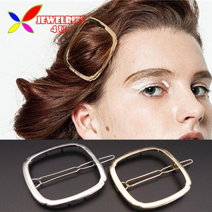 2016 New Women's Hair Jewelry Fashion Gold Silver Plated Metal Square Geometric Hair Clip for women Accessories pinzas de pelo(China (Mainland))