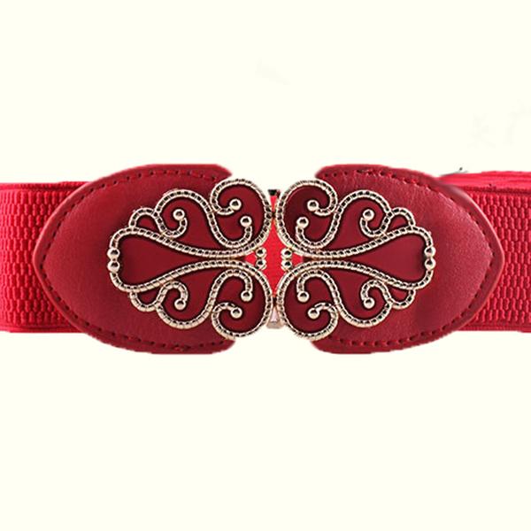 New Arrival Vintage Design Belt for Women Alloy Floral Buckle Wide Elastic Stretch Waist Belt Female PU Leather Girls Belt(China (Mainland))