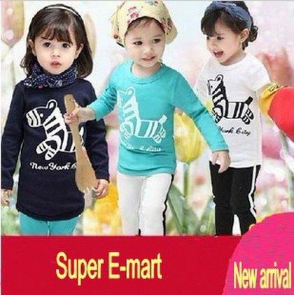 free shipping,girls animal clothing set,hot sale,charming print,2014 spring designer model,childrens long sleeve clothes set(China (Mainland))