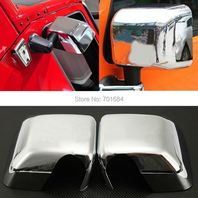 Pair Chrome Full Side Mirror Covers Trims Set  For Jeep Wrangler JK 07 08 09 10 11 12 13 14 2015  [QPA209]