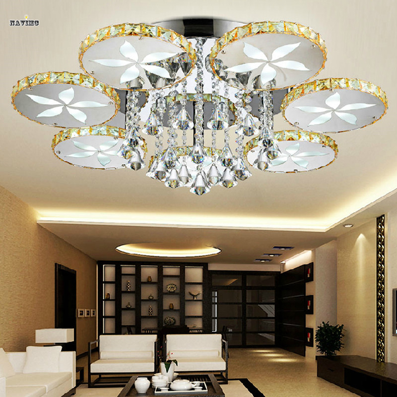 Luxury led flush mount round flower crystal ceiling lights for Living room ceiling light fixture