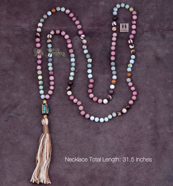 Exclusive Mixed 6MM Natural Stone Long Tassel Necklace Classic Nepal Bead Necklace Long Bohemian Womens Necklaces Jewelry(China (Mainland))