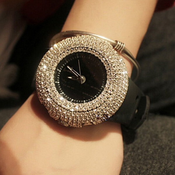 wholesale price New Arrival Fashion Women Rhinestone Watches ,silicone Watches,Han edition big dial Watches Free shipping(China (Mainland))