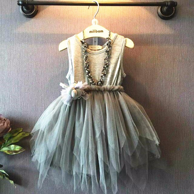 2016 Girls Summer Dresses Vintage Gray Sleeveless O-neck Tulle Princess Dress Kids Party Dresses Cinderella Dress