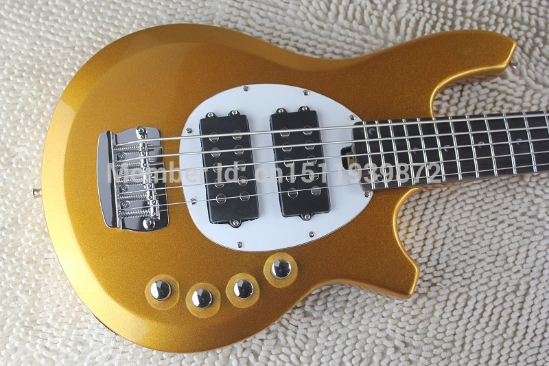 Free Shipping 2014 New Arrival Hot Sale High Quality Custom Music Man Bongo Golden 5 Strings Active Pickups Bass Guitar(China (Mainland))