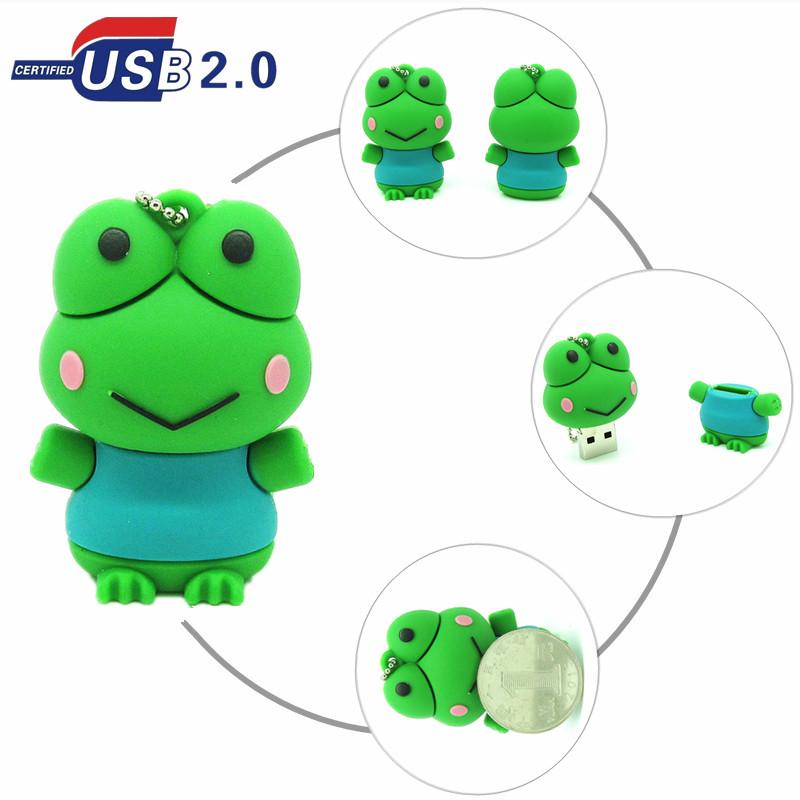 cartoon Silicone Frog USB Flash Drive Pen Drive Pendrive Memory Stick 4GB 8GB 16GB 32GB USB 2.0 U Disk storage device(China (Mainland))