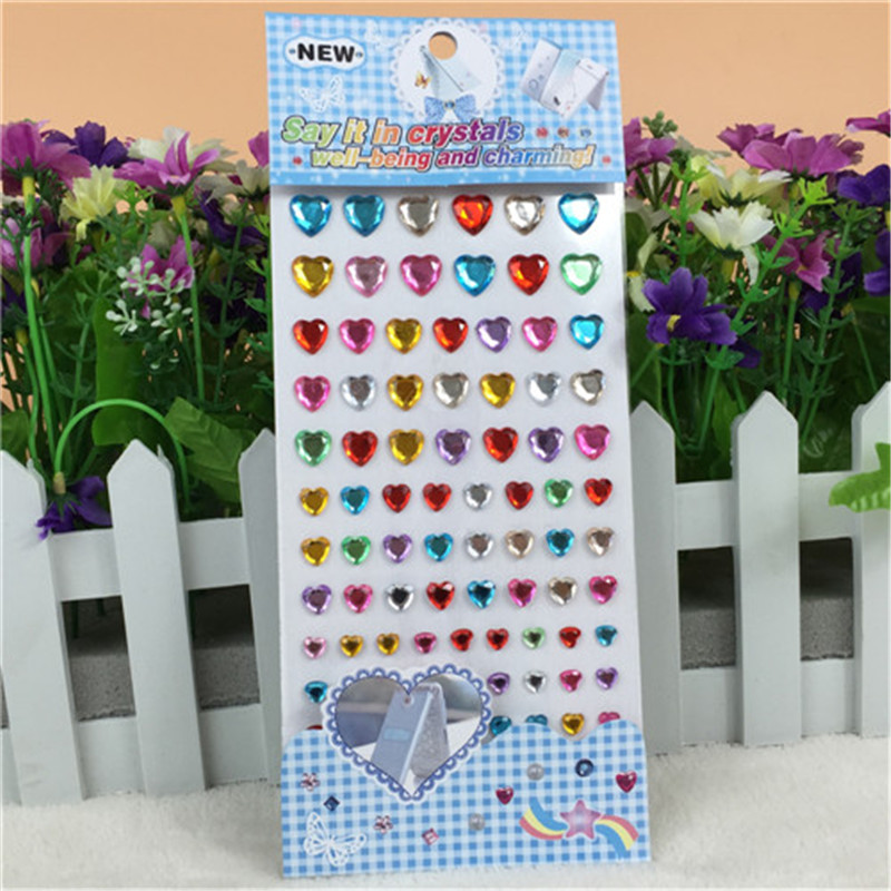 New Kids Toys Self Adhesive Multicolor 3d Acrylic Rhinestone Crystal Heart Children Stickers Crafts And Scrapbooking