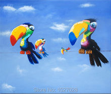 Cartoon Painting Picture Wall Decor Art Modern Painted Cute Parrot Canvas Oil Painting Interior Home Decoration Draw Paint Art(China (Mainland))
