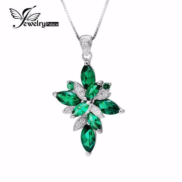 Fashionable Green Eastern Stylish Slim Pure 925 Sterling Silver Cross Nano Russian 4ct Gem Emerald Necklace Pendant Set