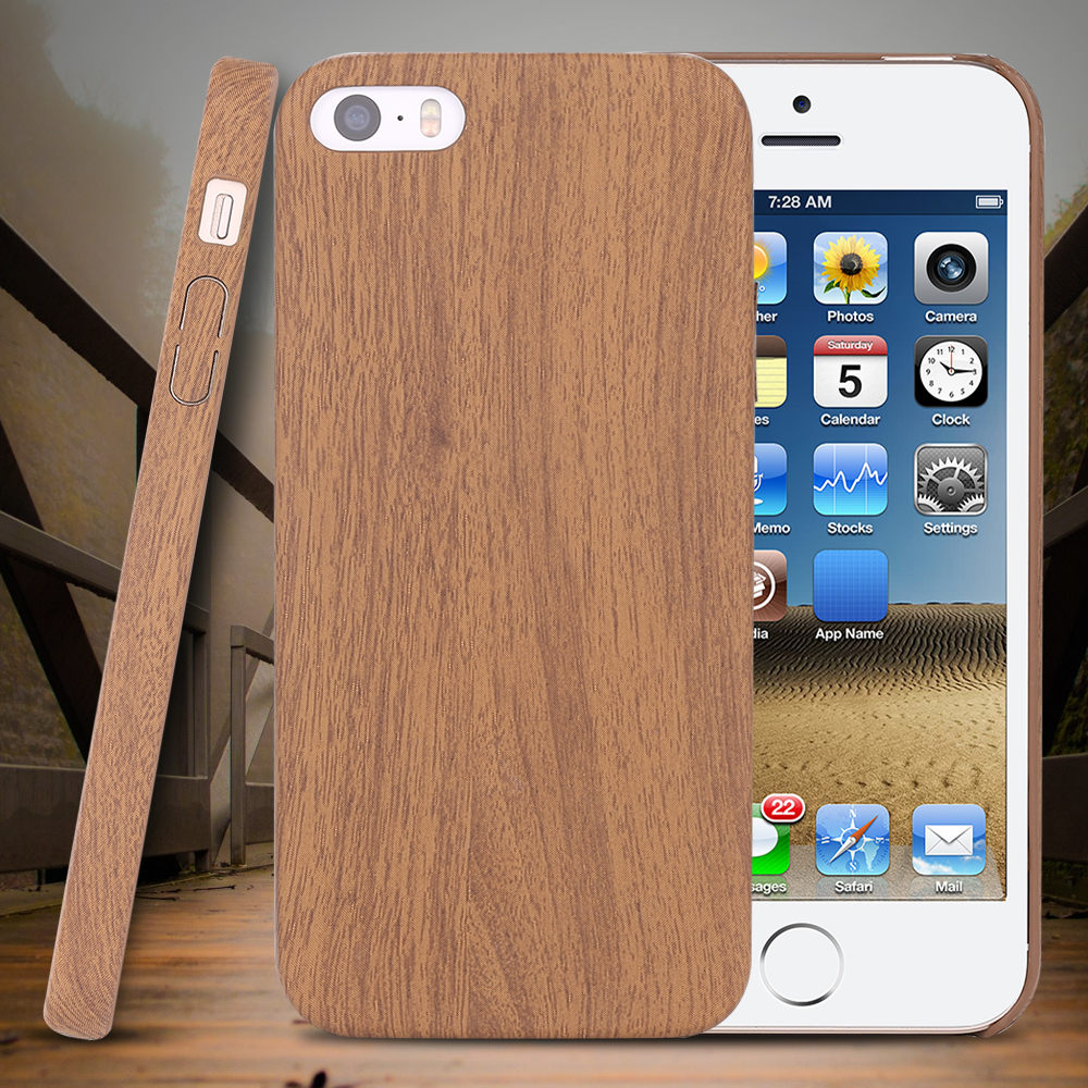 Brown Wood Skin Case for iPhone 5 5S SE Ultra Thin Plastic PC Protective Cover for iPhone 5 5S SE Back Shockproof Stylish Case(China (Mainland))