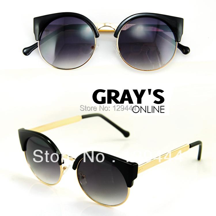Hot venda nova Unisex Vintage Cat Eye Sunglasses Retro rodada meninas oculos de sol da moda para senhoras 6 cores Drop Shipping(China (Mainland))