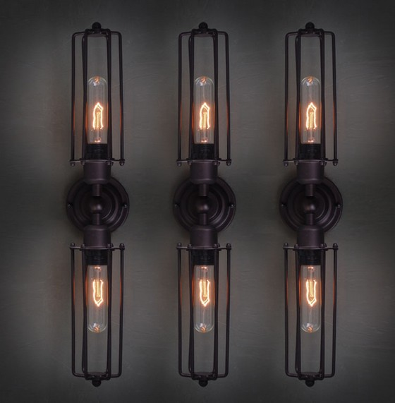 Retro Loft Style Double Edison Wall Sconce Mirror Wall Light Fixtures Vintage Industrial Lighting Wall Lamp For Home Arandela