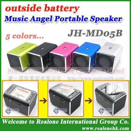 (4pcs/lot)Free Shipping mobile speaker MUSIC ANGEL JH-MD05B portable speaker sound box with FM,read USB/TF card+outside battery(China (Mainland))