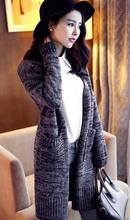 The new 2016 spring Add long loose dress With thick sweater Long sleeve knit cardigan Exempt postage(China (Mainland))