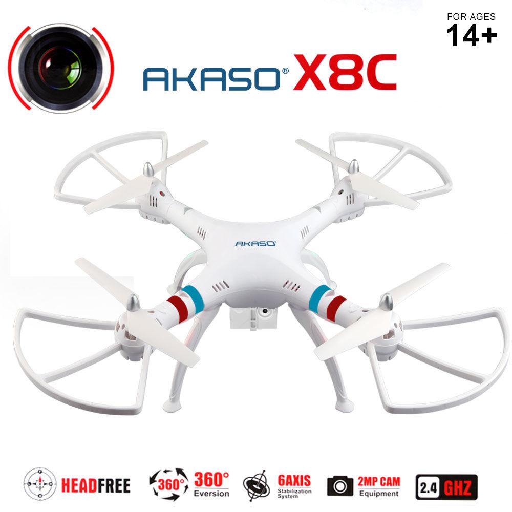 AKASO X8C 2.4Ghz 6-Axis Gyro RC Quadcopter Drone UAV RTF UFO with 2MP HD Camera White ZMR250(China (Mainland))