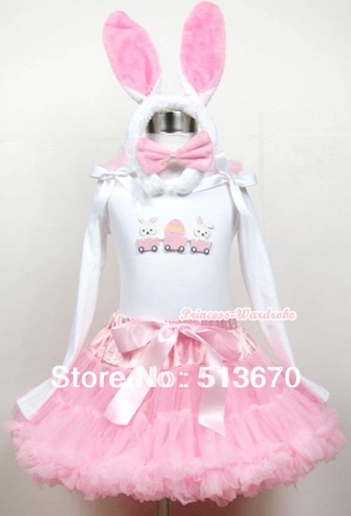 Light Pink Pettiskirt Dress &amp; Easter EGG White Long Sleeve &amp; Rabbit ear set MAMW202<br><br>Aliexpress