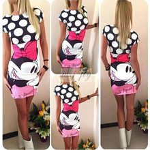 2016 Women Dress Printed Character Mouse Dress Sexy High Quality Slim Bodycon Sheath Casual O-neck Dress Free Shipping Vestidos(China (Mainland))