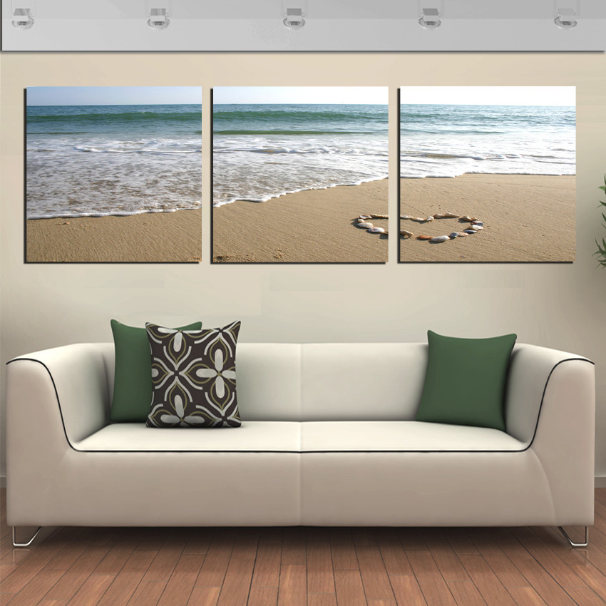Free shipping 3 panel wall art picture romantic beach lovely heart cute stone room on canvas - Picture wall decor ...