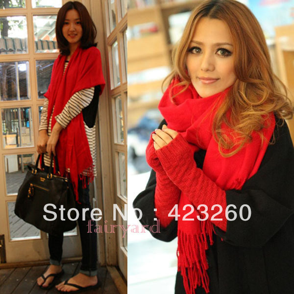 Winter Korea Multicolor Long Large Warm Soft Wrap Women Scarf Shawl Tassels(China (Mainland))
