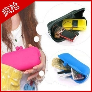 2012 spring silica gel purse cosmetic bag pouch mobile phone bag silica gel bags clutch
