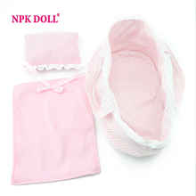 "doll accessories 3pcs Pink Cradle Quilt Pillow for 12"" reborn baby doll Doll blanket(China (Mainland))"