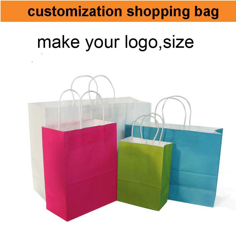 500pcs!50%-60% shipping cost,custom printing paper bag logo,print your logo bag paper shopping bag,make your size color(China (Mainland))