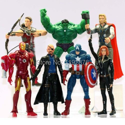 The Avengers 16cm Captain America Wolverine Thor Spiderman Batman Action Figures Toy 7 pcs/lot free shipping(China (Mainland))