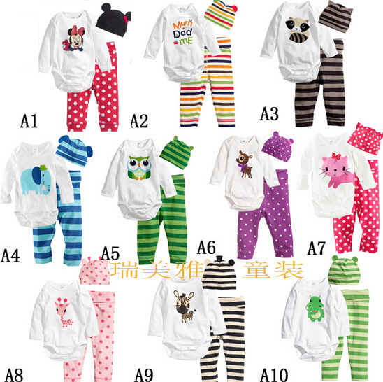 Wholesale Cotton quality baby clothes romper 19 style with lovely animals print 3pcs sets gw303<br><br>Aliexpress