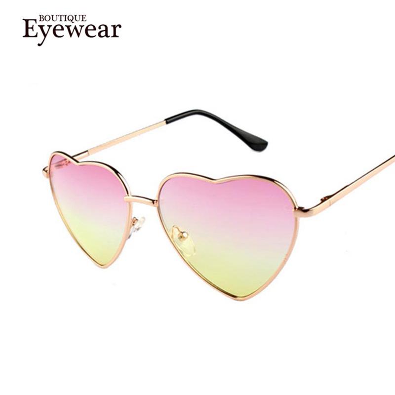 BOUTIQUE Heart Shaped Sunglasses WOMEN metal Reflective LENES Fashion sun GLASSES MEN Mirror oculos de sol NEW
