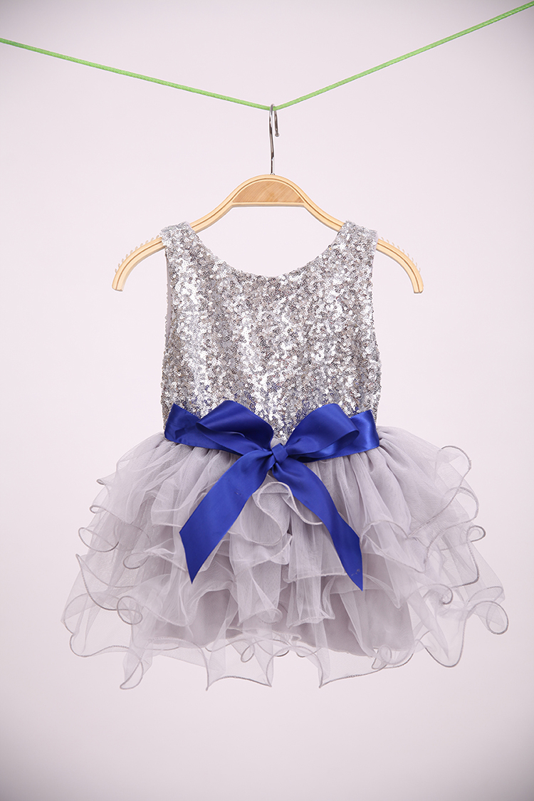 2016 New Children Baby Sequined Bow Ruffles Party Dresses, Girls Princess Elegant Flower Dress 5 pcs/lot, Wholesale(China (Mainland))