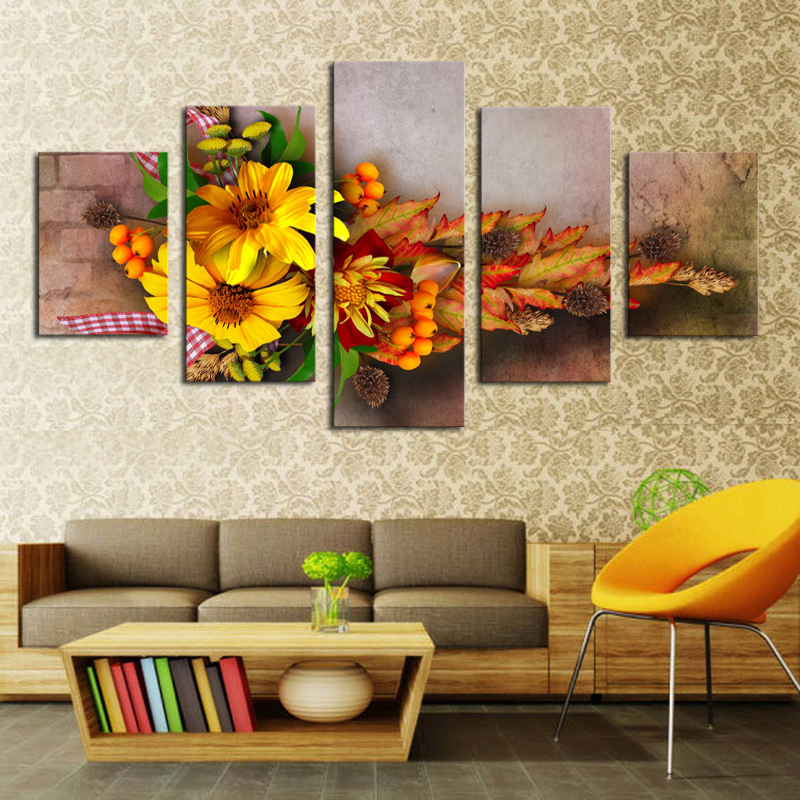 Free shipping 5 Piece Colorful Flowers Modern Home Wall Decor Canvas picture Art HD Print Painting Canvas art Unframed