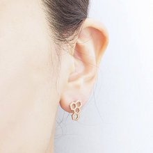 Women fashion sexy gold silver pink honeycomb stud earrings wholesale ED039