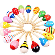 1PC Colorful Kids Wooden Ball Rattle Toy Sand Hammer Rattle Learning Musical Instrument Percussion for Baby 0-12 Month(China (Mainland))