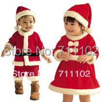 Free shipping Baby romper + hat Kids Christmas clothing cotton boy girl Santa dress Masquerade wholesaler new arrival hot sales(China (Mainland))