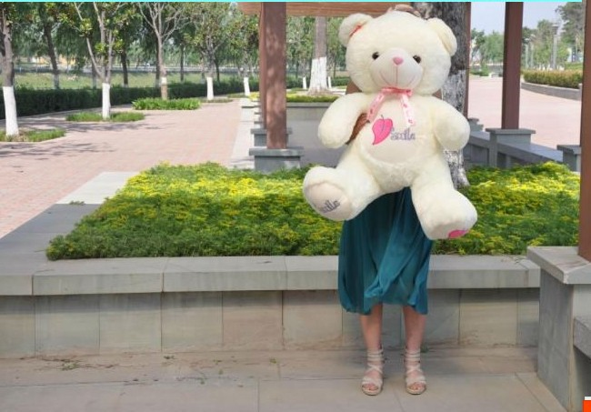 """The lovely huge bear doll teddy bear with """"smile"""" on tummy plush toy doll birthday gift about 105cm(China (Mainland))"""