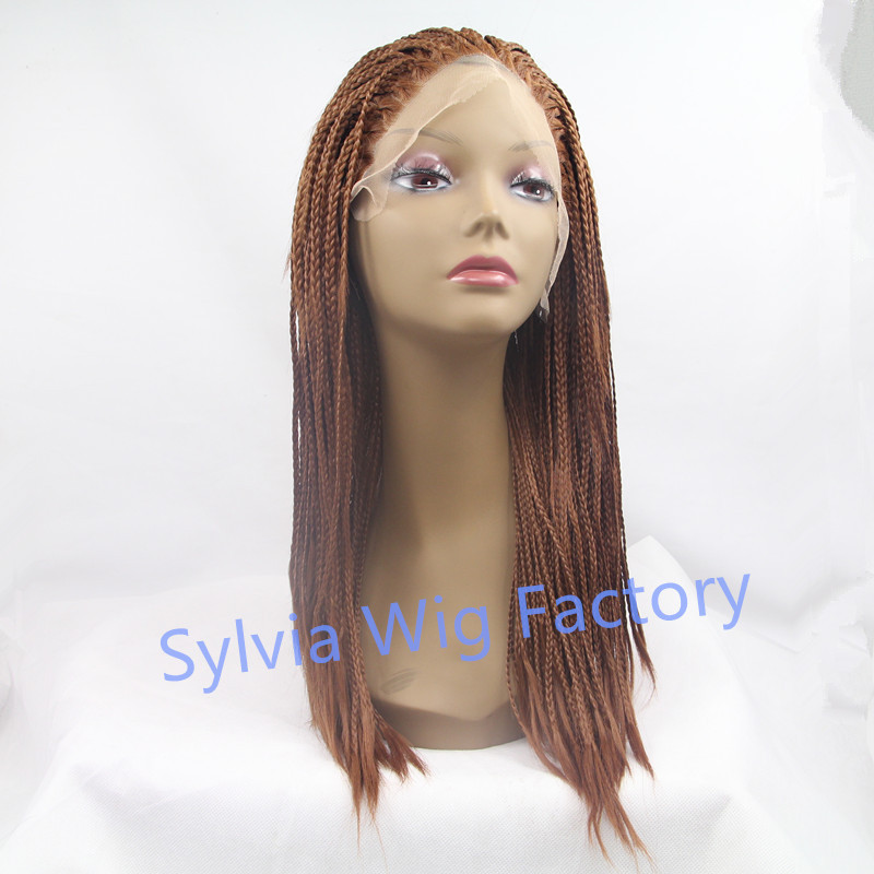 Фотография Hot Sales african american premium synthetic braid wigs micro braided wig lace front wig heat resistant fiber synthetic hair