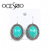 Blue Turquoise green stone clip earrings for women oval/square/eye retro vintage fashion accessories earrings ers-g42