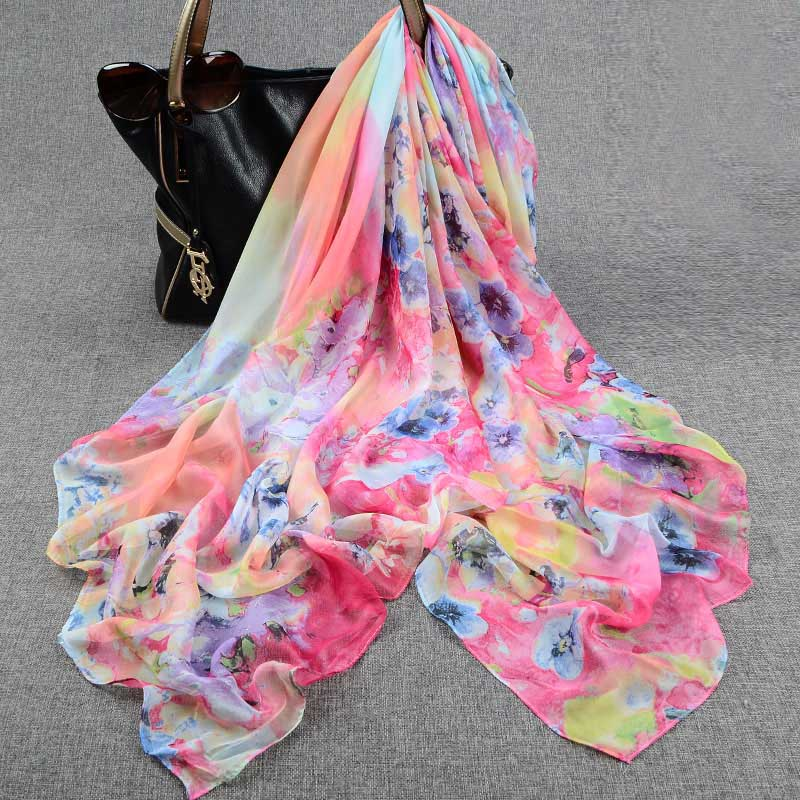 2016 Fashion Prints Chiffon Silk Scarf Female Summer Sarong Pareo Beach Cover Up Ladies Large Silk Scarfs(China (Mainland))
