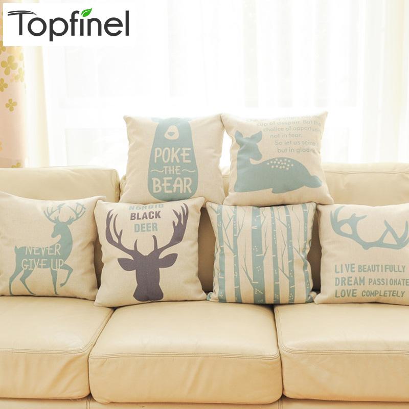 Top Finel 2016 Deer Decorative Throw Pillows Case Linen Cotton Cushion Cover Creative Decoration ...