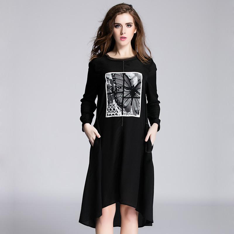 High quality 2016 New fashion spring summer 100% silk Women's Silk Ink Stickers Dress print casual silk female loose dress