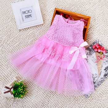 Retail! New 2015 baby girls dresses high quality children clothing cotton ball gown dress kids lace princess clothes with bow