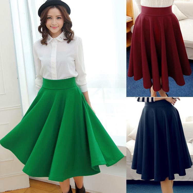 Midi Flared Skirt - Skirts