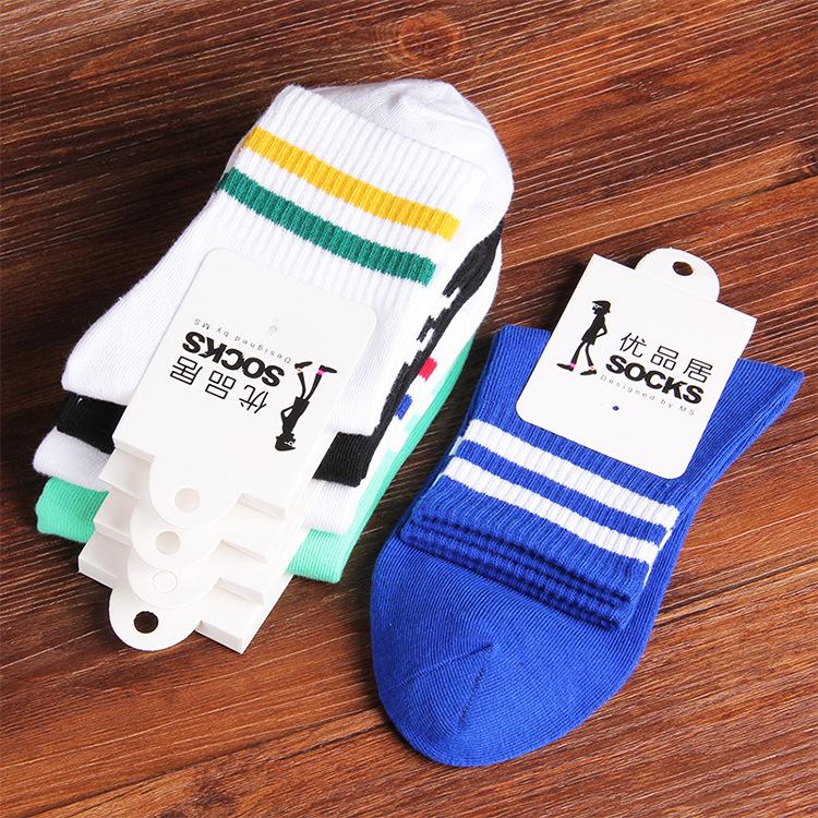 Dis два бар спорт носки расчёсанный хлопок носки ткань в полоску ветер влюблённые