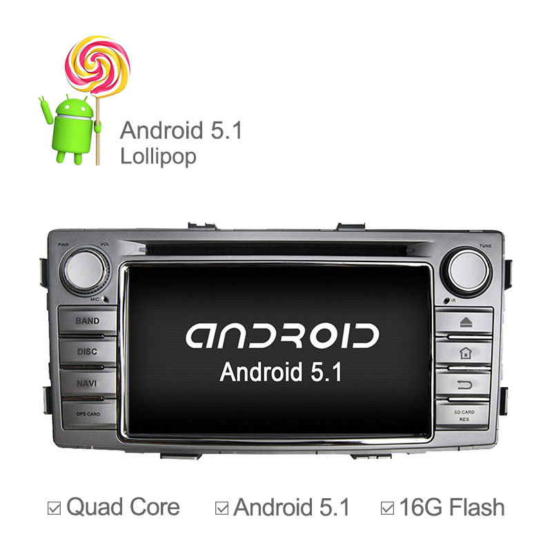 Android 5.1.1 Quad Core Car DVD Player For Toyota Hilux 2012 2013 2014 GPS Radio Stereo Bluetooth Wheel Control Built-in Wifi(China (Mainland))