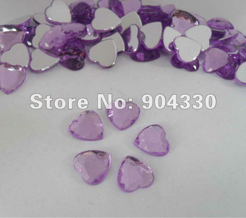 Free Shipping 200pcs Lavender 12MM Heart Flatback Rhinestone Acrylic Diamond Scrapbook Jewelry Garment Craft DIY Decoration(China (Mainland))