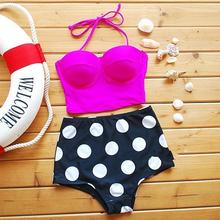 2016 Push Up High Waist Swimsuit Fashion Women Summer Bathing Suit Padded Spot Biquini Retro Beachwear Plus Size Color Swimwear