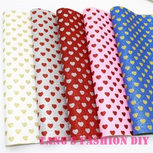 1PCS--High Quality DIY 30X26cm  PU Glittle leather synthetic leather  print heart shape  per pcs (4 colors can choose)(China (Mainland))